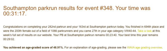 Tamsyn's result from Southampton parkrun #348: 31:37.