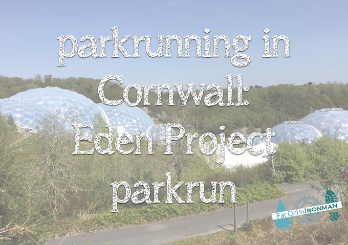 Biomes at the Eden Project with 'parkrunning in Cornwall: Eden Project parkrun' superimposed on it.