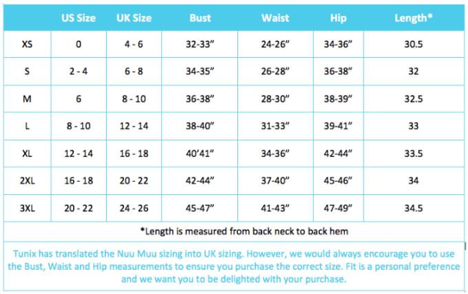 Measurements for Nuu-Muu exercise dresses and US/UK dress sizes.