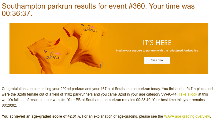 Tamsyn's result from Southampton parkrun #360 on 18th May 2019: 36:37.