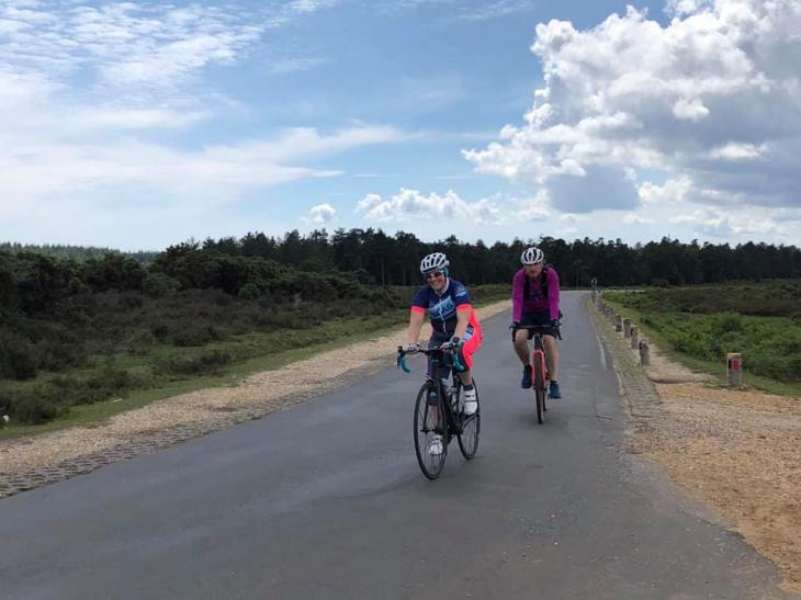 Tamsyn and another cyclist on a bike ride in the New Forest.