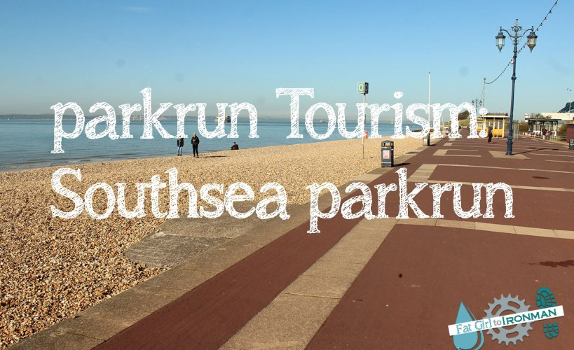 View of the beach at Southsea with 'parkrun Tourism: Southsea parkrun' written on it.