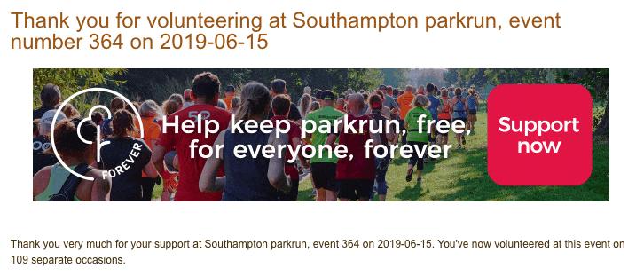 Volunteering at Southampton parkrun  on 15th June 2019.