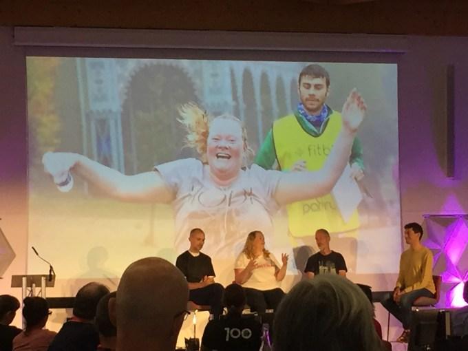 Dawn Nisbet, Paul Sinton Hewitt and Tim Soar (designer of Contra sportswear) being interviewed by Vassos Alexander.