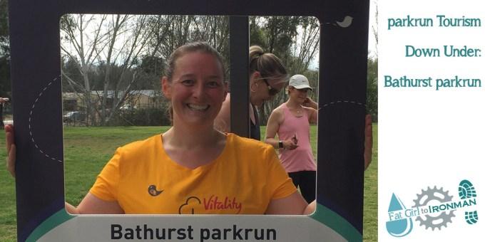 Tamsyn with a selfie frame at Bathurst parkrun.