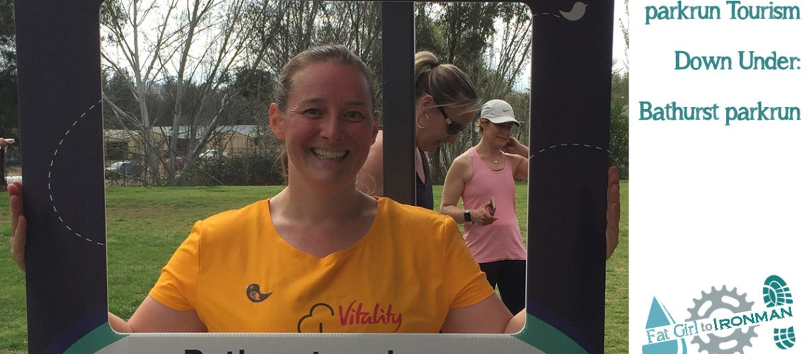 Tamsyn with a selfie frame at Bathurst parkrun.