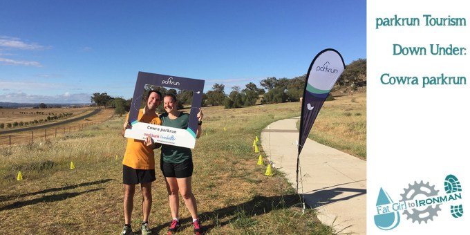 Stuart and Tamsyn in the Cowra parkrun selfie frame.