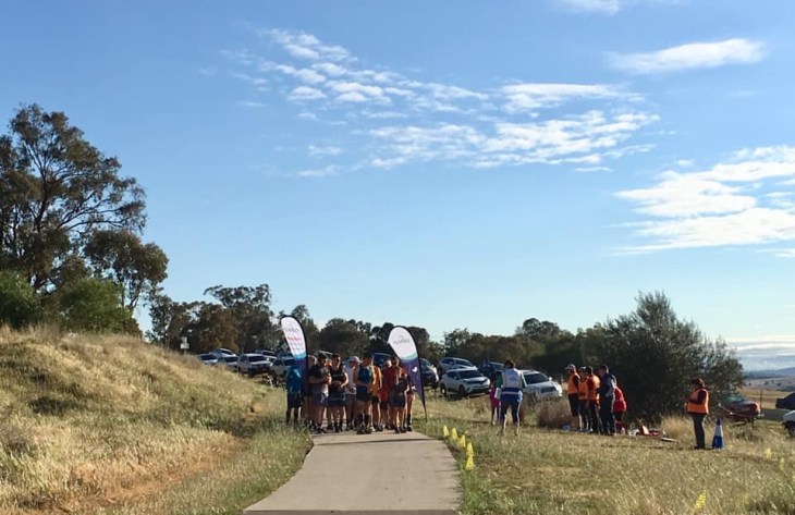 Runners at the start line of Cowra parkrun.
