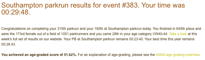 Tamsyn's result from Southampton parkrun #383 on Saturday 09/11/19: 29:48.