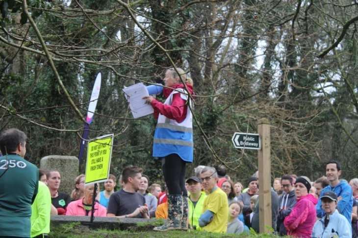 The Run Director giving the briefing at Penrose parkrun. For many runners this was their second run as part of a New Year's Day Double.