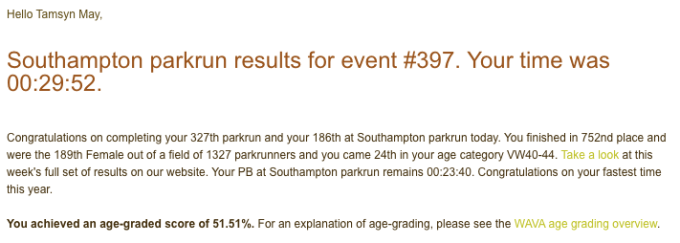 Tamsyn parkrun result from 01/02/20: 29:52.