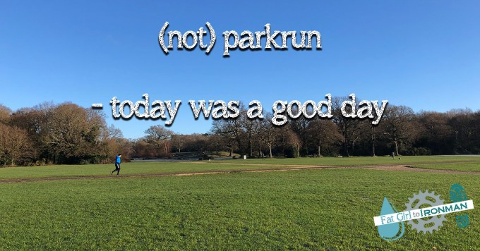 A runner on The Flats on Southampton Common. Text on the image says (not) parkrun - today was a good day.