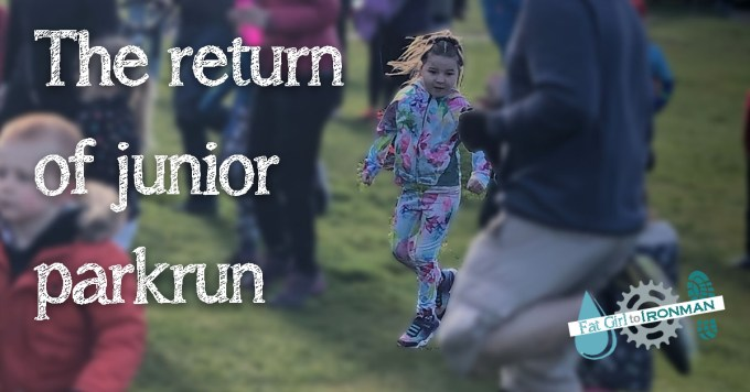 M doing the warm up at junior parkrun.