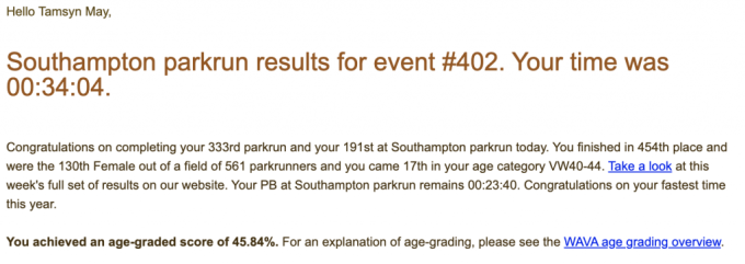 Tamsyn's results for Southampton parkrun #402: 34:04.