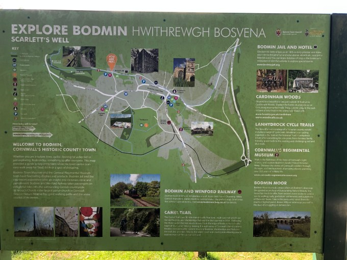 A sign giving information about cycle trails and other tourist attractions around Bodmin.