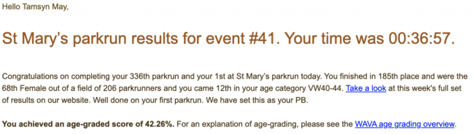 Tamsyn's result email from St Mary's parkrun #41 in a time of 36:57.