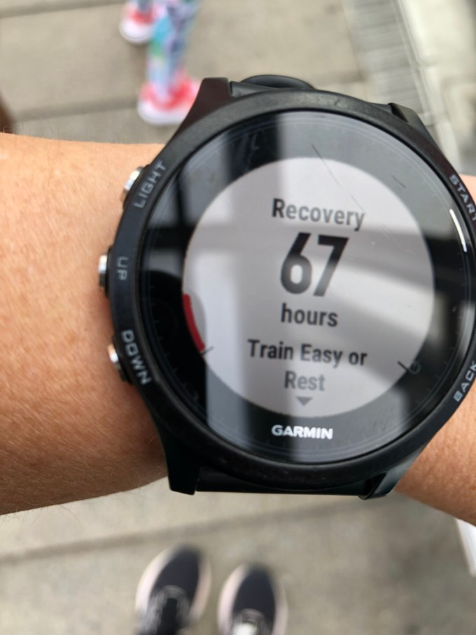A Garmin watch that says Recovery 67 hours - train easy or rest.