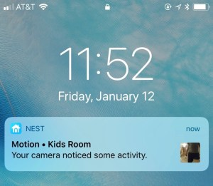 A screenshot of a push notification from Nest Cam on an iPhone screen