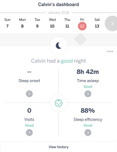 A screenshot of the Dashboard section of the Nanit App with sleep stats