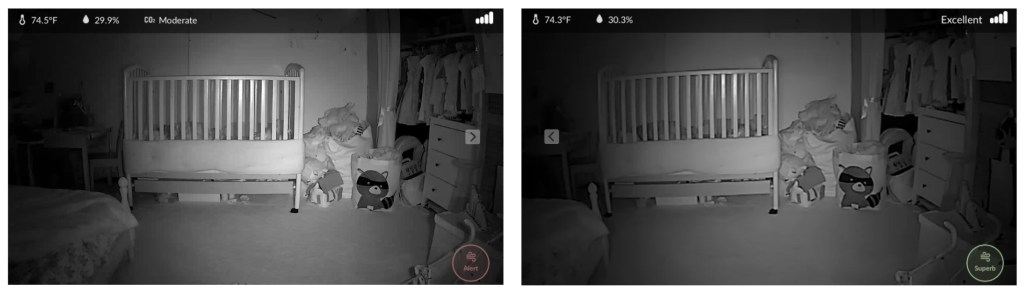 Screenshots from the iBaby M7 and the iBaby M6S, showing night vision images from both cameras.