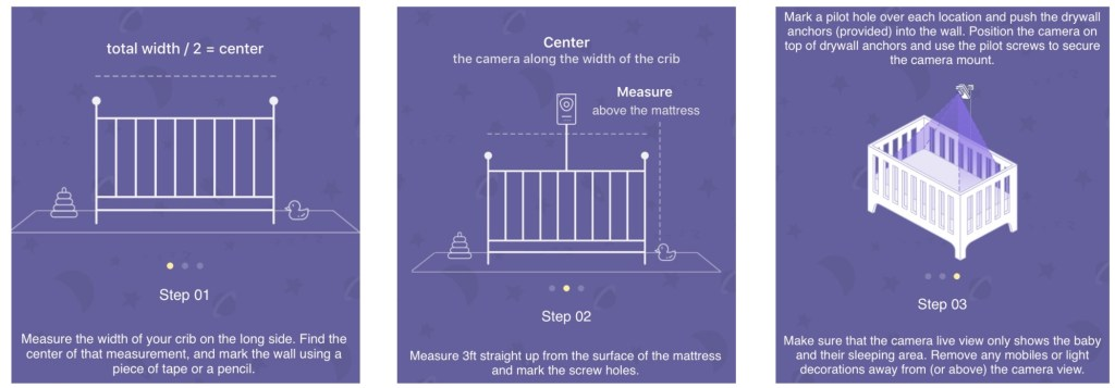 Screenshots from Cocoon Cam app about mounting it