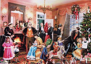 An imagined Victorian Christmas scene