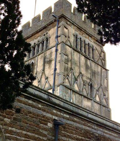 Pilaster stone strips, possibly imitating timber, around 970, All Saints church, Earls Barton, Northamptonshire