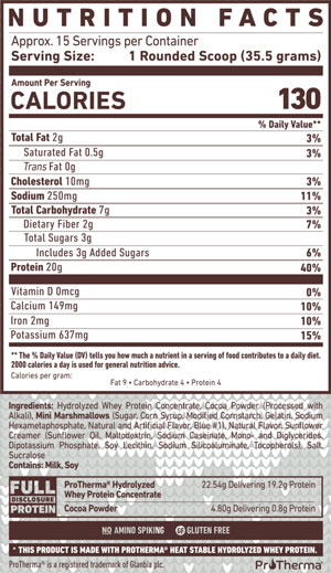 GHOST High Protein Hot Cocoa Mix Nutrition Facts