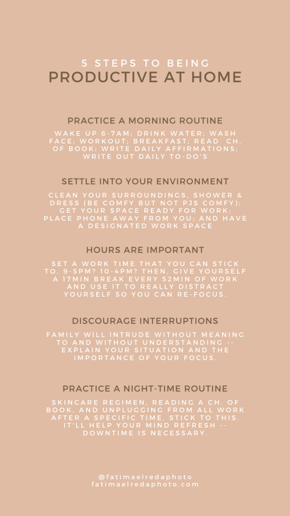 5 Steps to Being Productive at Home, by Fatima Elreda Photo