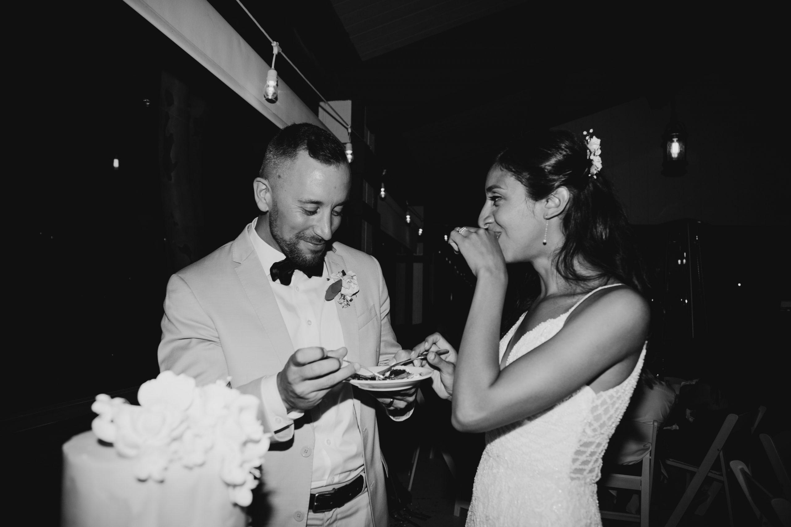 Bride and Groom cut cake, The Montage Laguna Beach Wedding Bridal Portraits, image by Fatima Elreda Photo