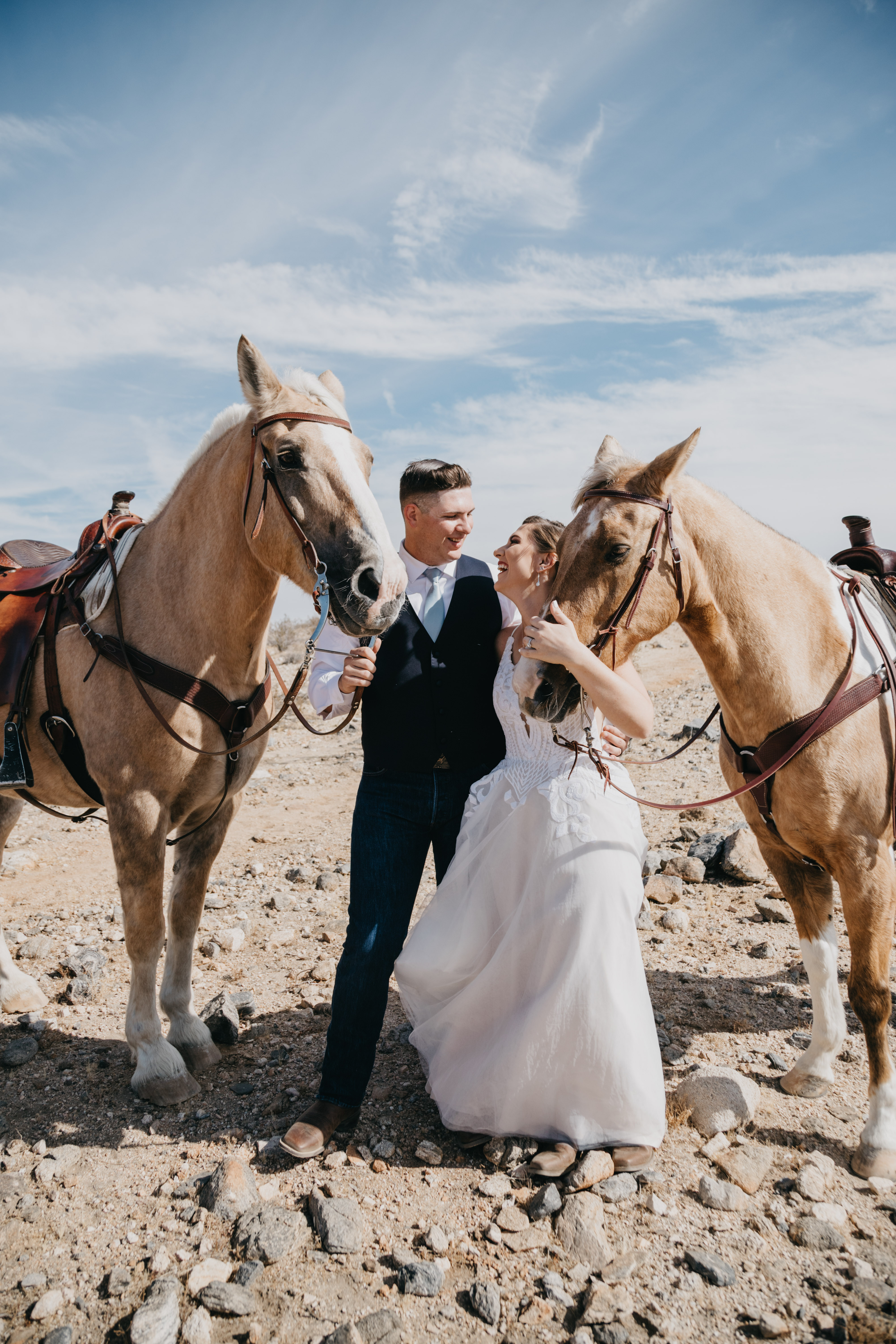 Bride and Groom portraits with horses, image by Fatima Elreda Photo