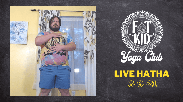 Image displays the Fat Kid Yoga Club logo and a photo of Marc practicing Tadasana with one hand on their chest and one hand on their belly