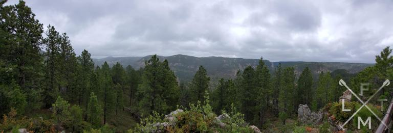 Panoramic picture from the top of the trail.  There are tall trees in the foreground with a wall of mountains lining the background. The skies are overcast and cloudy.