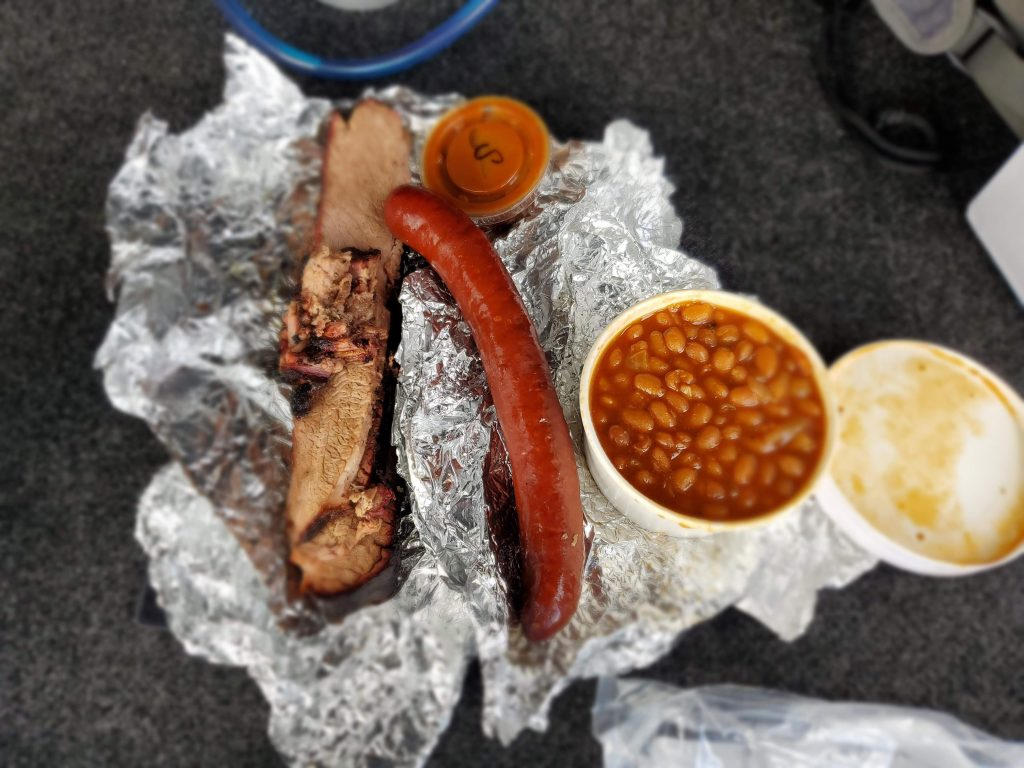 Brisket, sausage and baked beans from Scooters smokehouse and grill in Conifer, Colorado.