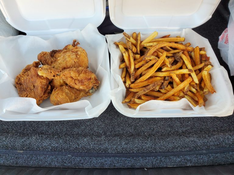 Fried chicken and French Fries from Olga's Eatery in Bailey Colorado