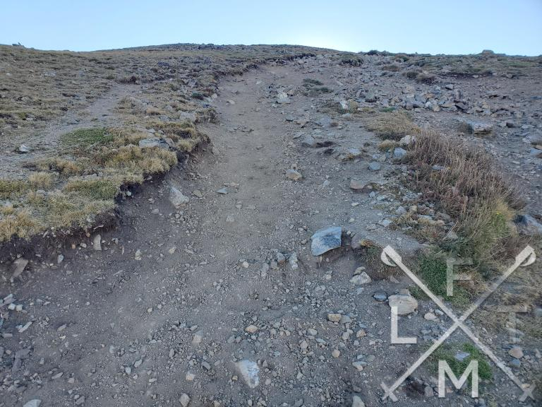 The initial hill of the Mt. Snitkau trail.  The loose dirt and rock define the trail while the grade shows just how vertical it is.