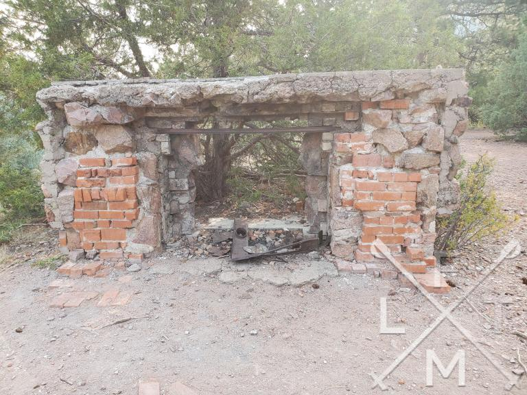 The remains of the fireplace from the Crags Hotel.