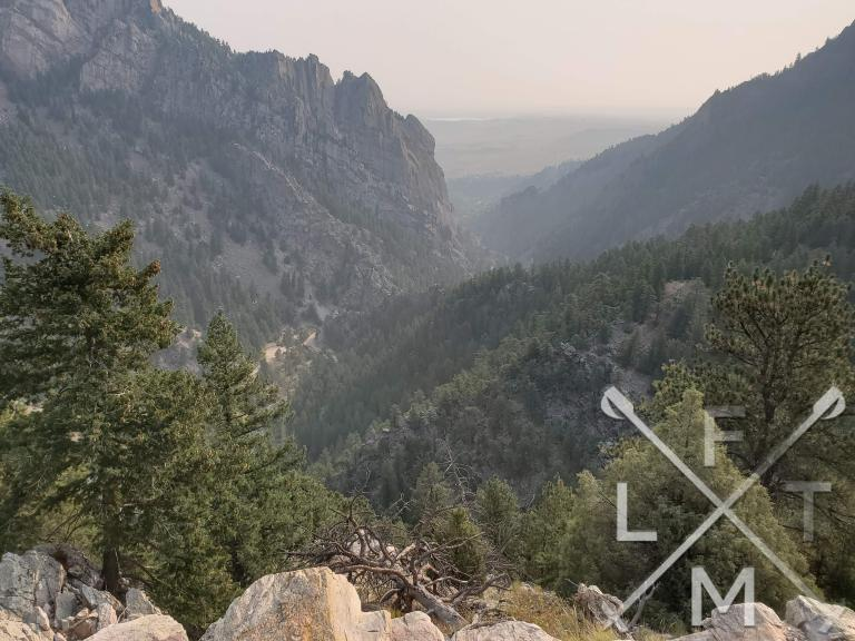 The views from the overlook point.  Smoke obsucres it a little but it shows both sides of the canyon with trees in the foregroung.