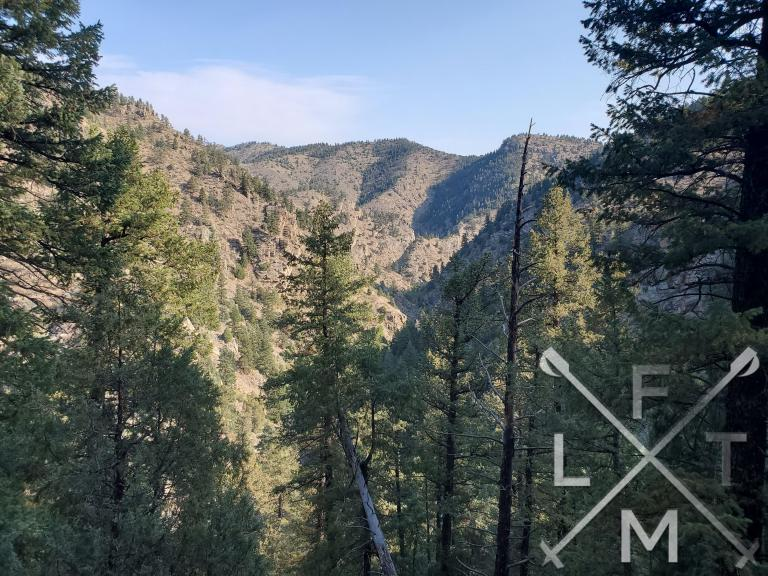 A view of the canyon with some tall pine trees in the front and mountain taking up about 3/4 of the picture at the end of the canyon.