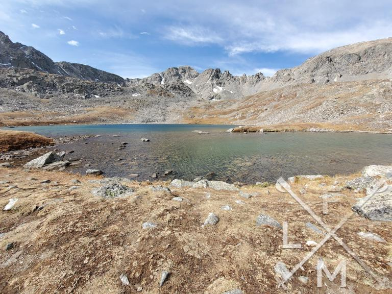 The upper lake.  Surrounded by tall cliffs at the end of the hike.