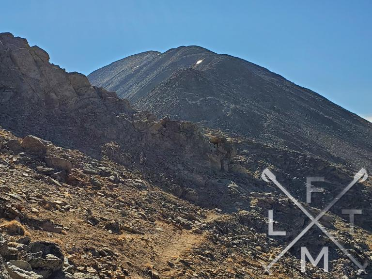 A large mound of rocks separated me from the final push up to the Bald mountain peak in the background.