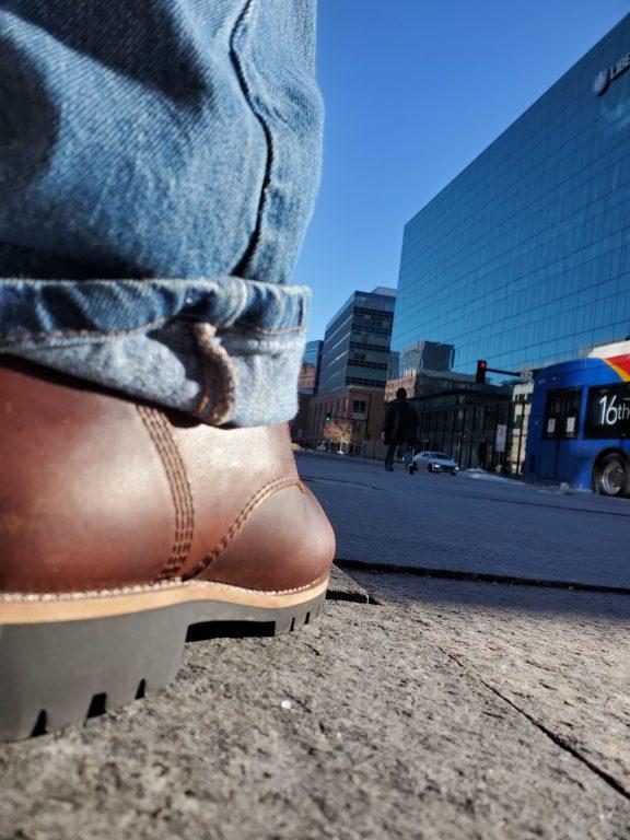Kodiak Boots Moncton Boot on a corner downtown.