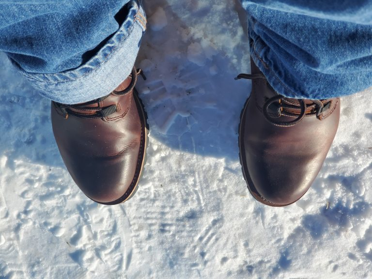 Kodiak Boots Moncton Boots standing in snow.