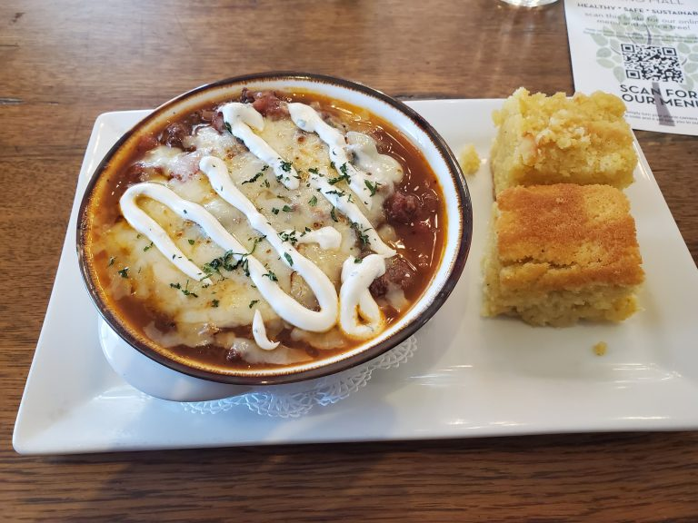 The Elk Chili and two pieces of cornbread from the Chautauqua Dining Hall