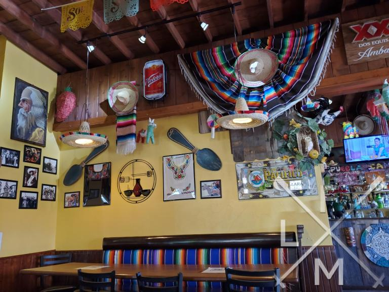 Fun decor all over the walls and ceiling of Charrito's House in Larkspur