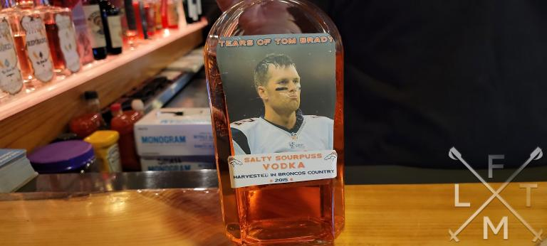 A bottle of the tears of Tom Brady, a salty Vodka served at Woody's in Golden