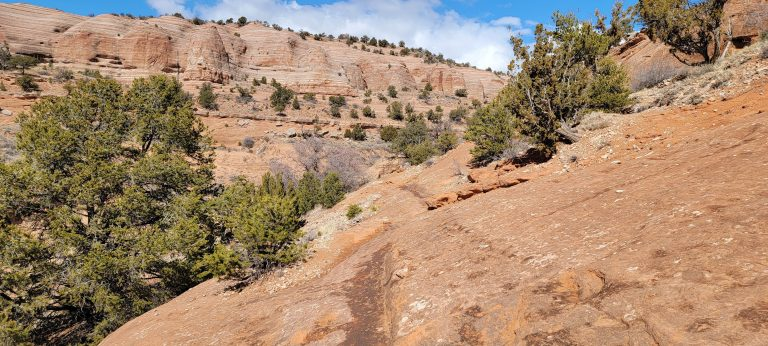 A lower section on the Church Rock Trail is just a discolored section rock that you walk across.