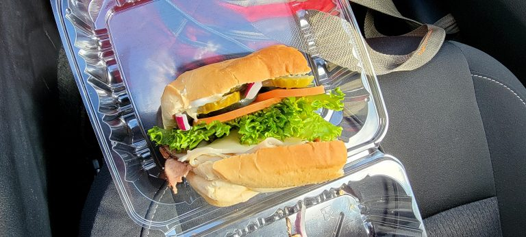 The Blasted Bistro Club Sandwich. Fresh veggies and bread highlight this sandwich.