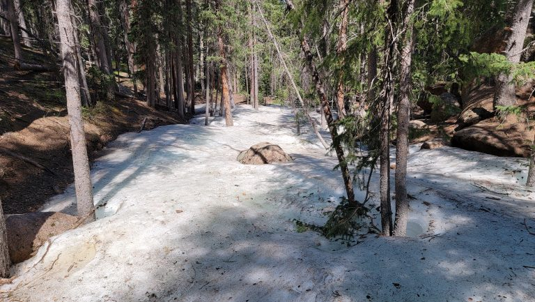 The trail turned into a giant ice block enveloping trees as we got near to Horsethief Falls on the Pancake Rocks and Horsethief Falls hike.
