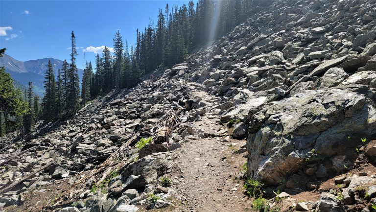 A large swath of rockslide in the middle of the forest. There is a small path through the center section of the scattered rocks to finish the Ptarmigan Lake Trail.  These are rather common to Colorado Hiking.